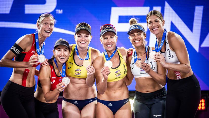 The women's podium at the World Tour Finals in Sardinia