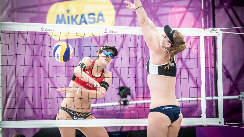Tanja Huberli spikes in World Tour Finals opening match