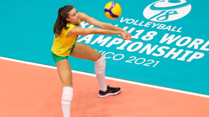 Brazilian captain Aline Maestri receives during the match