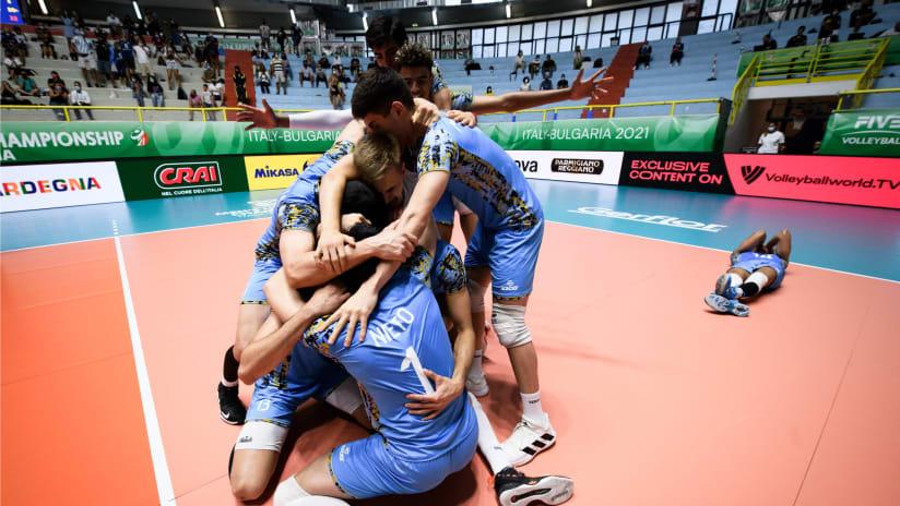 Argentina celebrating qualification for the semis