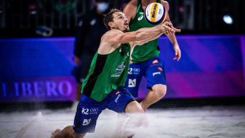 Ondrej Perusic of Czechia sets the ball