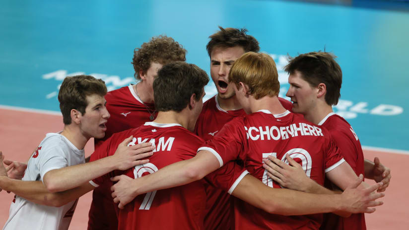 Captain Mathias Elser (right) celebrates with his teammates