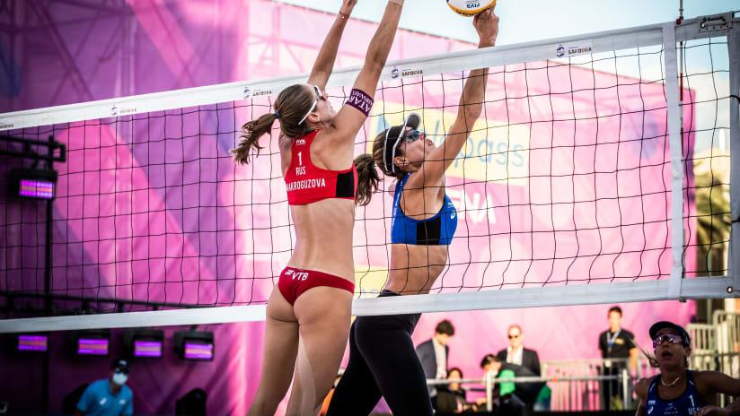 Alix Klineman against Nadezda Makroguzova in the bronze medal match