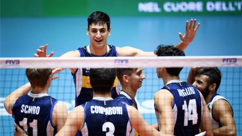 Italy U21 team huddle