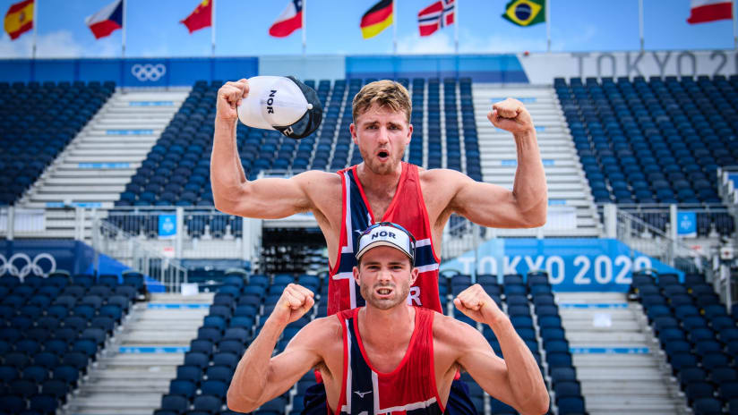 Mol and Sorum celebrate their country's first Olympic semifinal on the beach