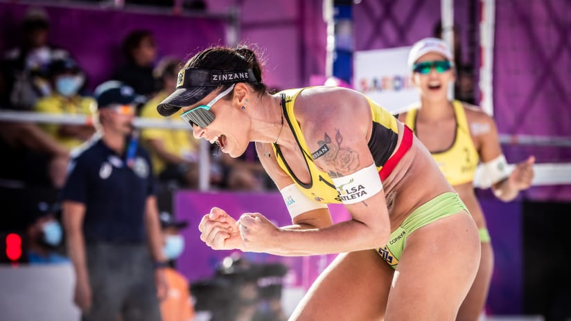 Brazil's Agatha Bednarczuk celebrates a point