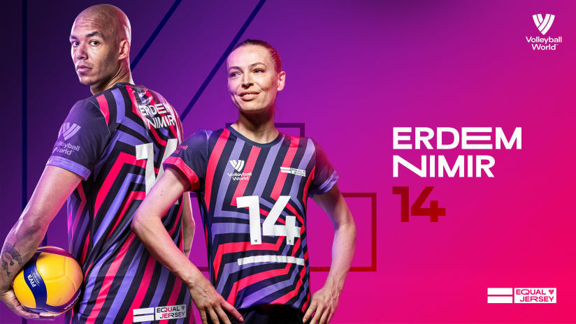 Eda Erdem (TUR) and Nimir Abdel-Aziz (NED) sharing the No. 14 Equal Jersey
