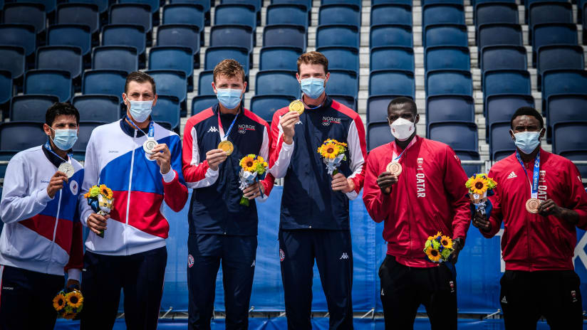 The Tokyo 2020 men's Olympic podium