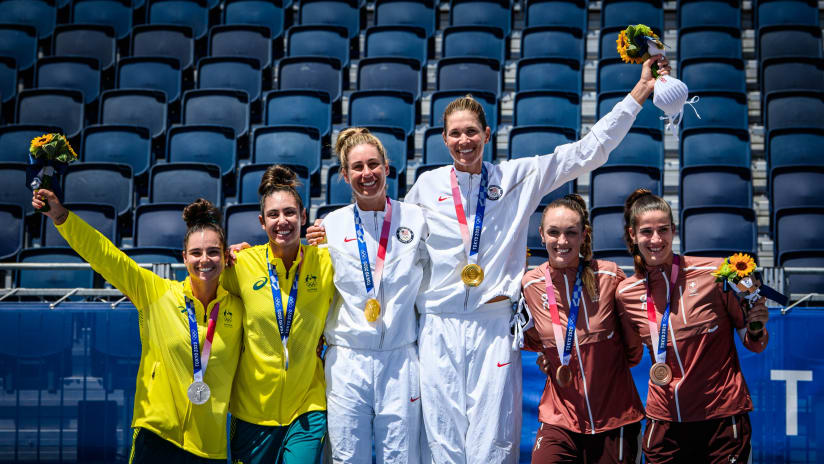The women's Olympic podium at Tokyo 2020