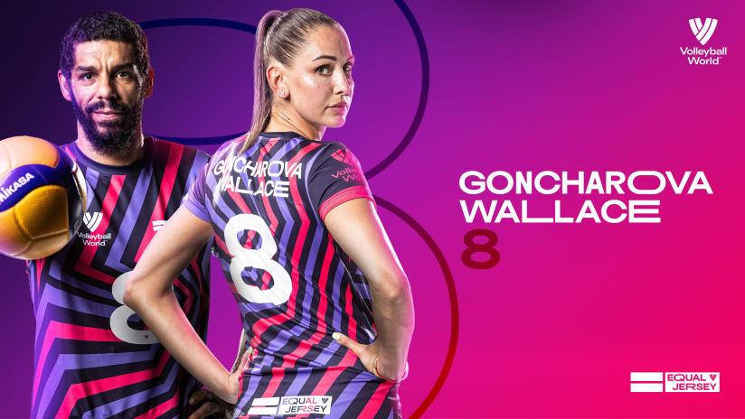 Natalia Goncharova (RUS) and Wallace de Souza (BRA) sharing the No. 8 Equal Jersey