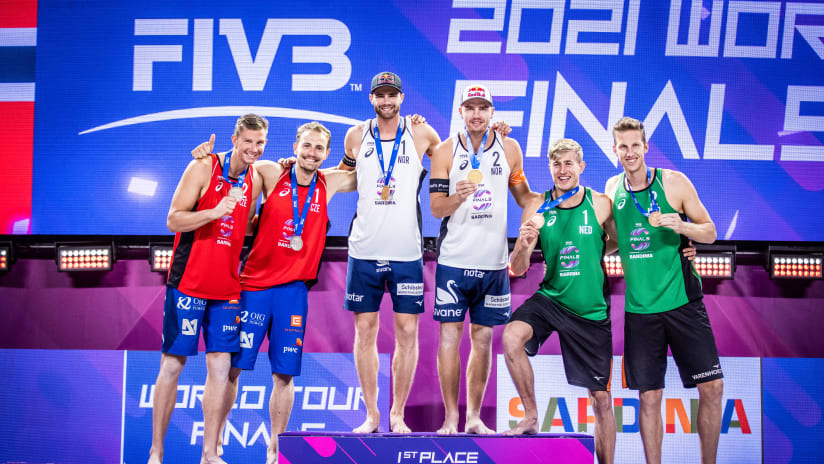 The men's podium at the World Tour Finals in Sardinia