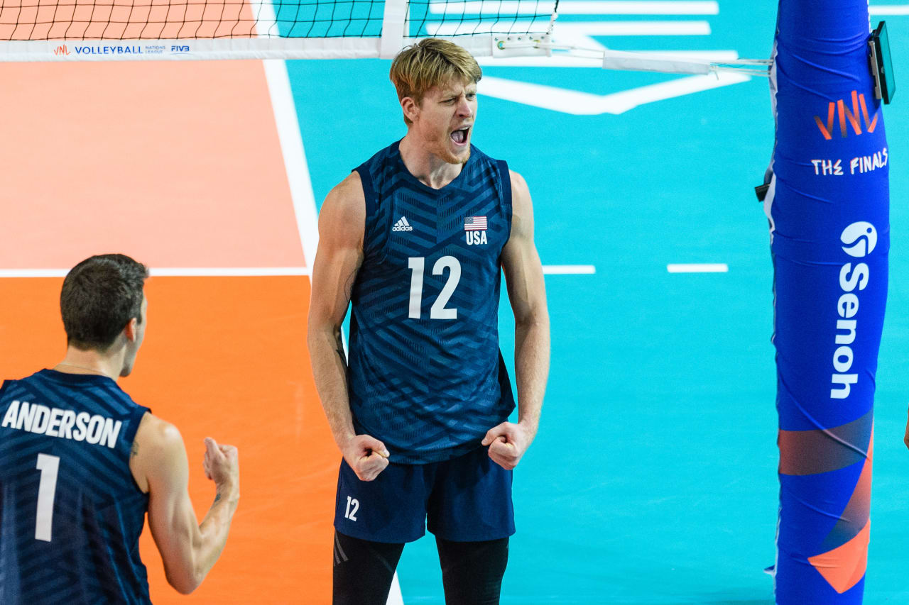 USA's Max Holt celebrates a point during the Finals