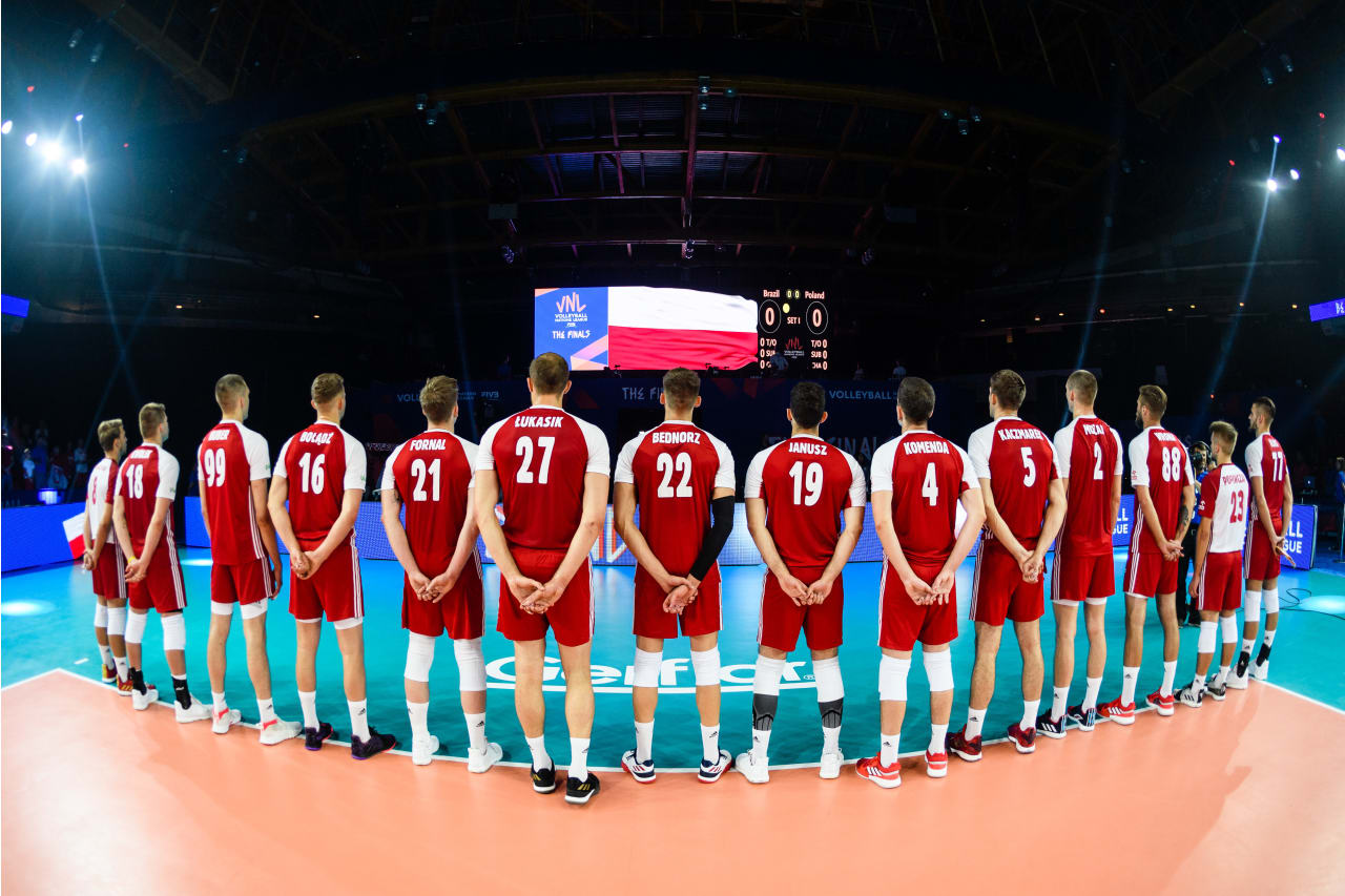 Poland players line up during their national anthem