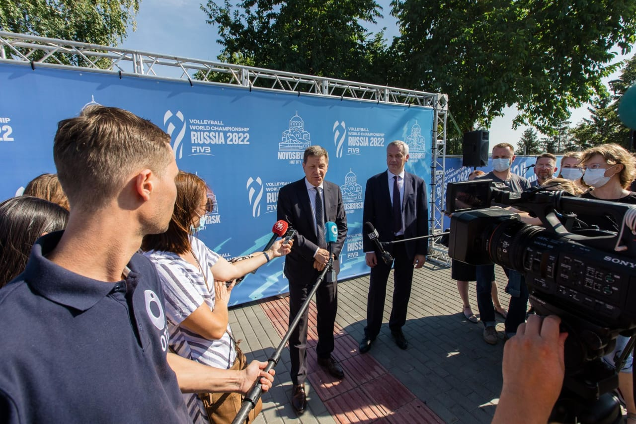 Members of the press at the 1 year to go event in Novosibirsk