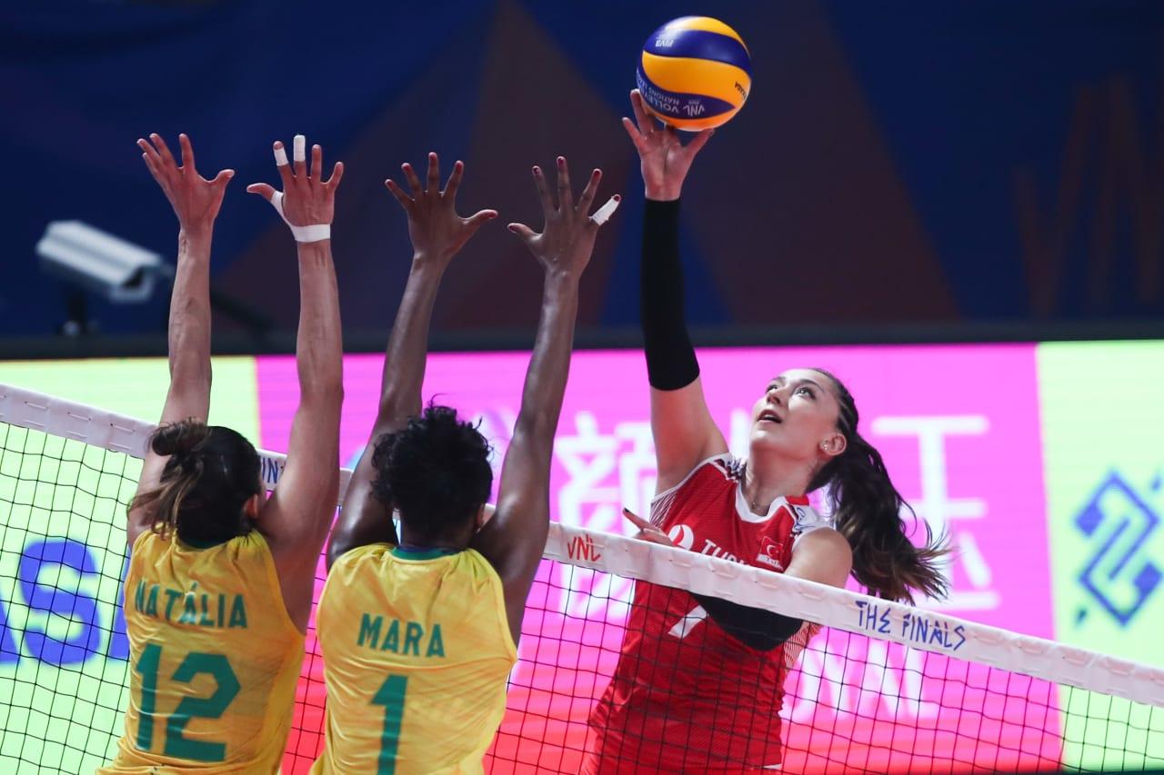 Turkey's Hande Baladin faces Brazil's double block