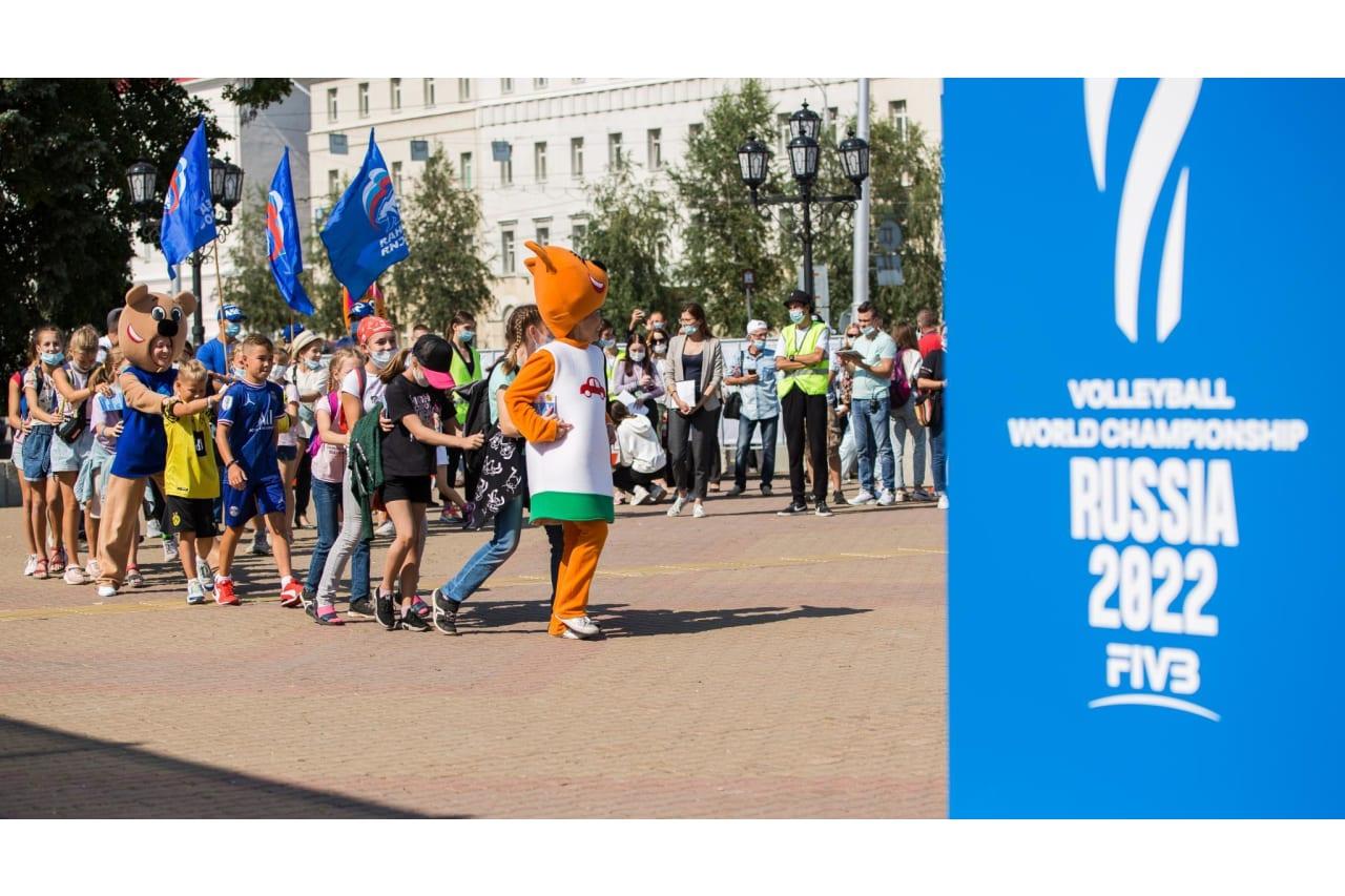Participants in volleyball festival in Ufa