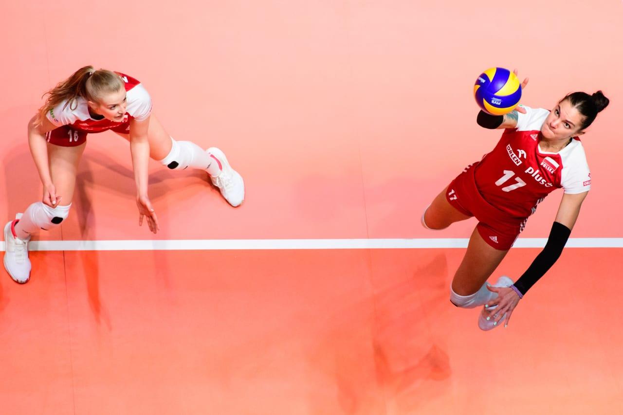 Poland's Malwina Smarzek at the net