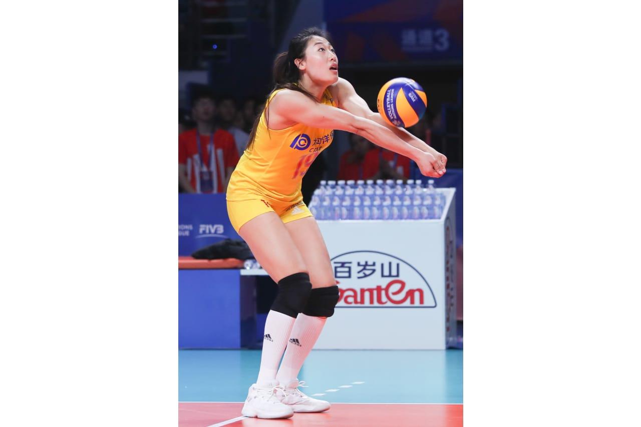 China's Liu Yanhan bumps the ball