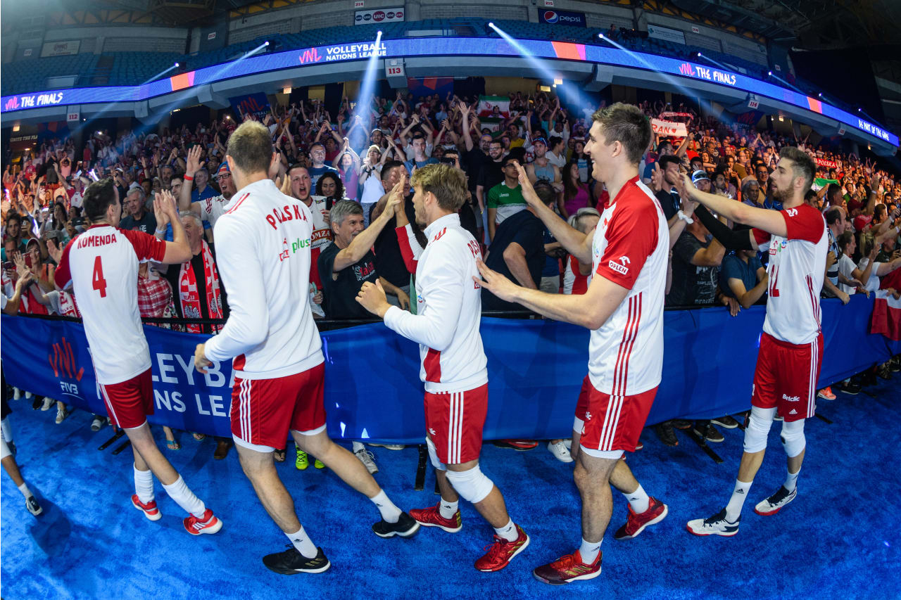 Polish players greet the fans at the Chicago Finals