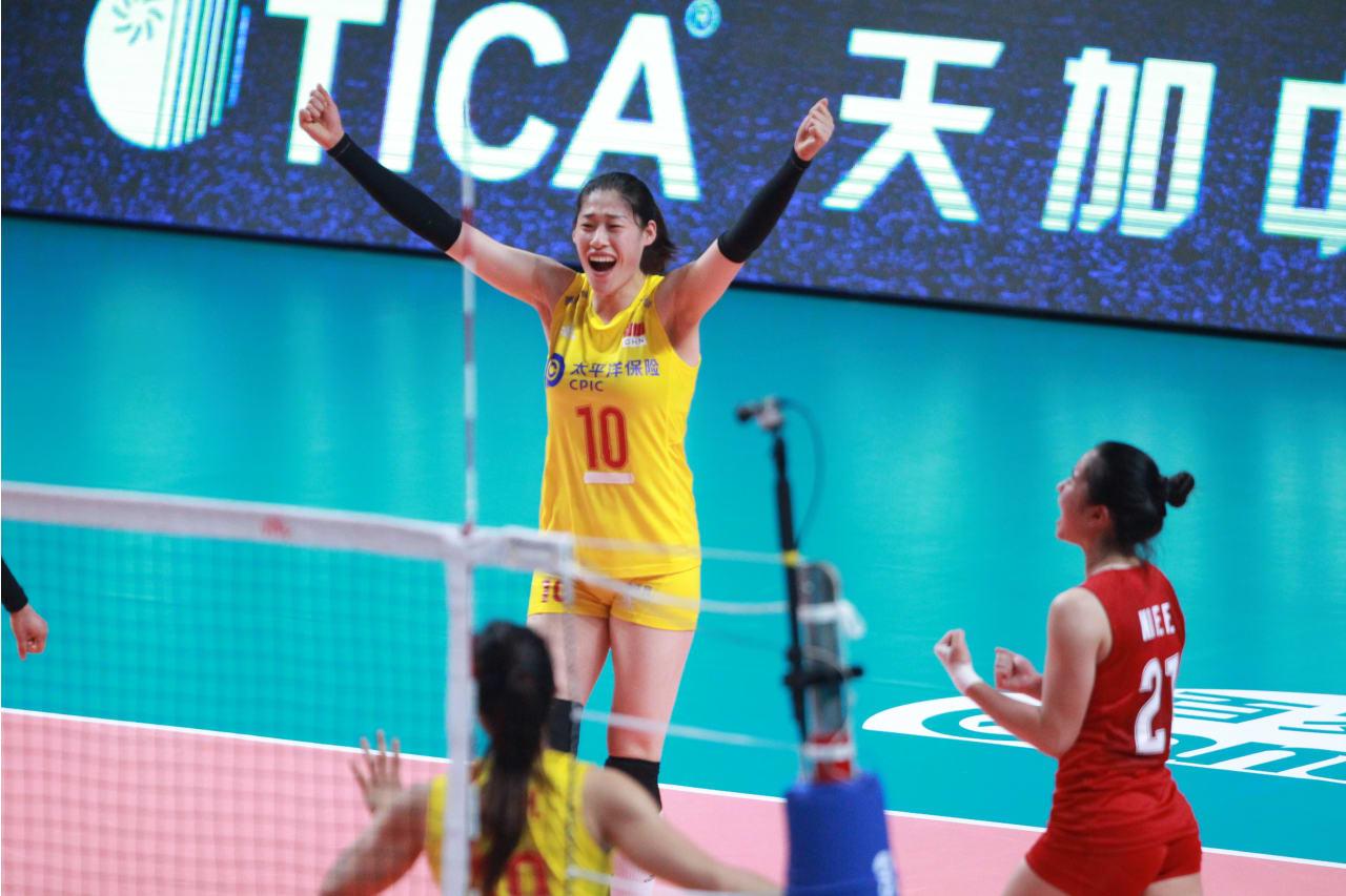 China's captain Liu Xiaotong celebrates a point
