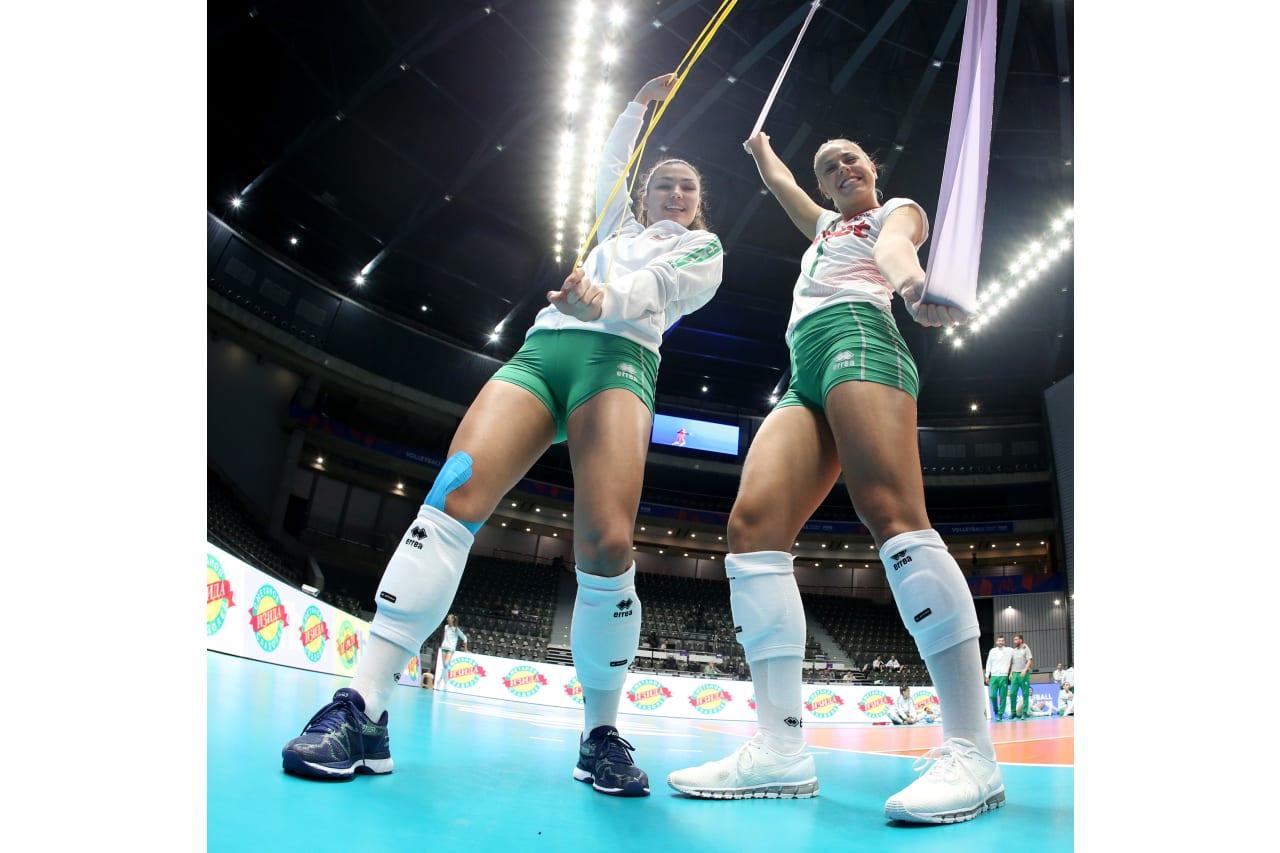 Petya Barakova and Gergana Dimitrova (Bulgaria) enjoying their warm-up