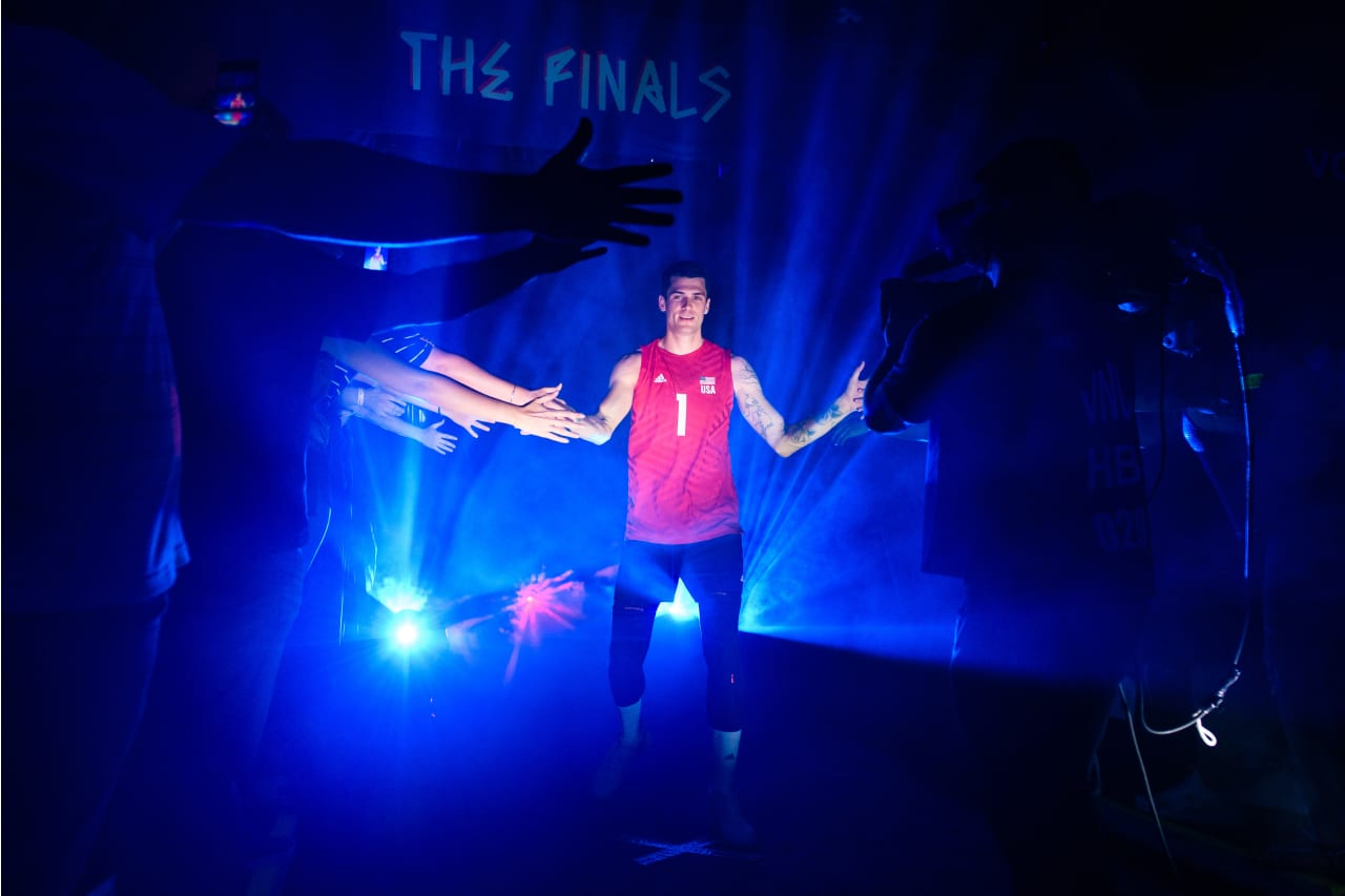 USA's Matt Anderson is introduced before a match