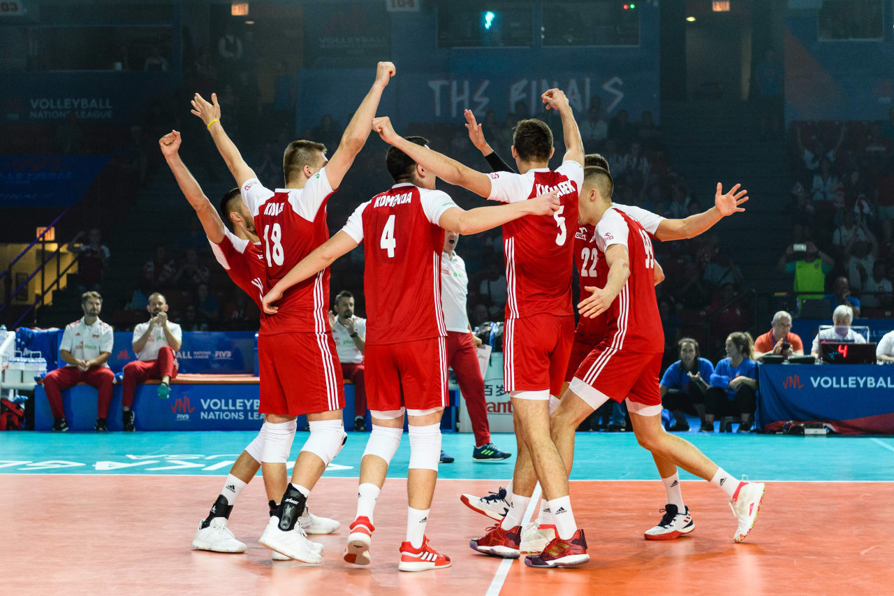 Poland players celebrate a point