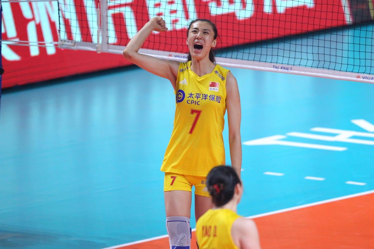 China's Wang Yuanyuan celebrates a point