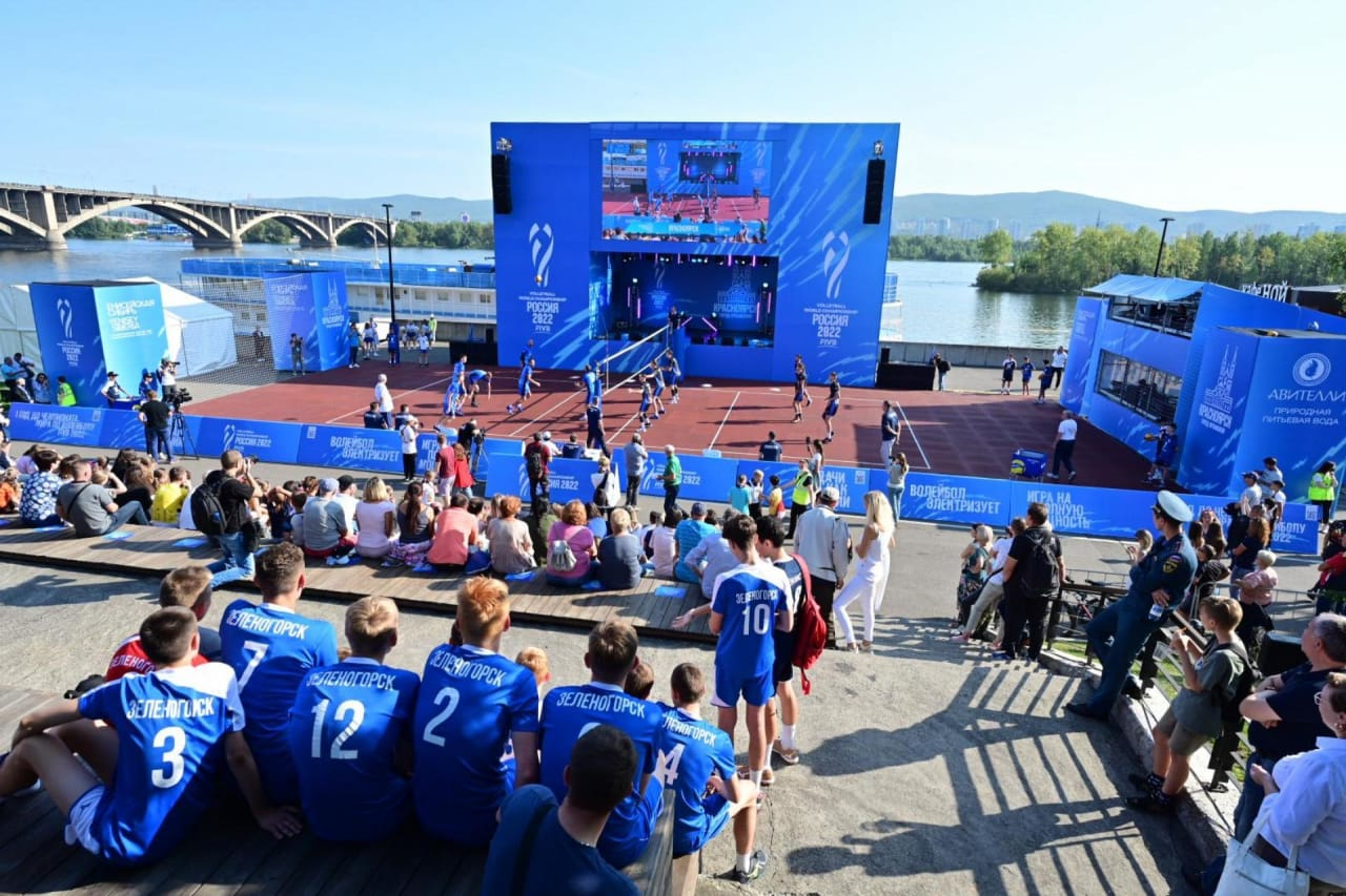 Playing volleyball in Krasnoyarsk