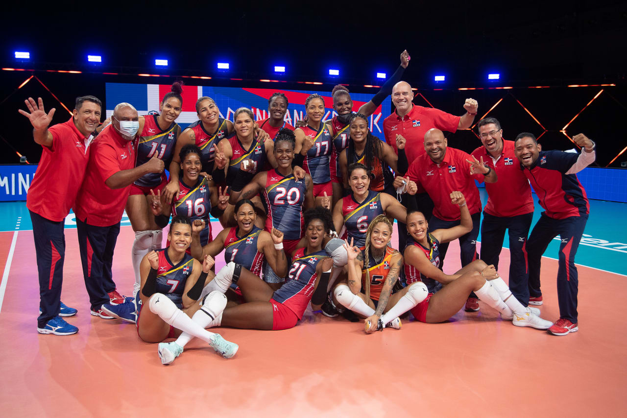 The Dominican Republic celebrate their win against Poland