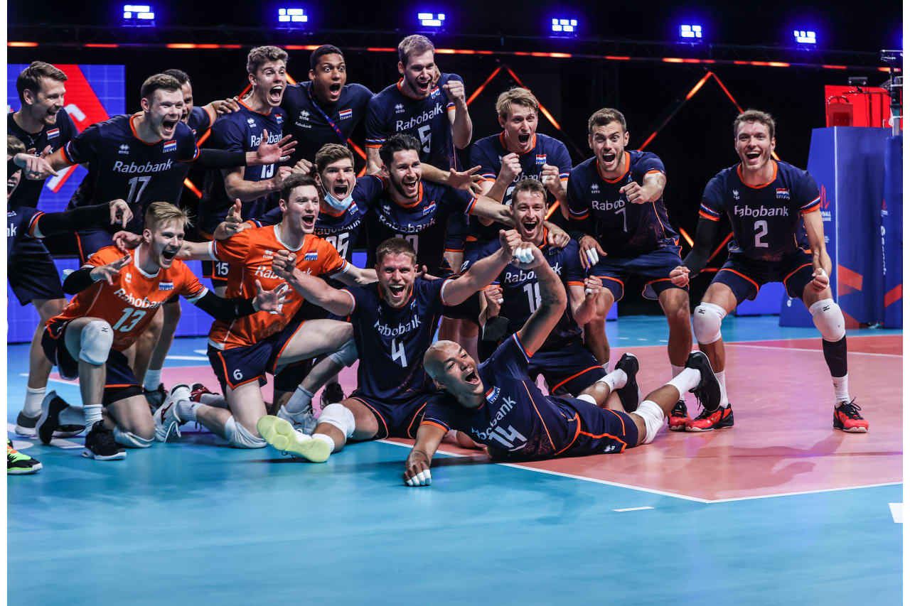 The Netherlands celebrate their first victory