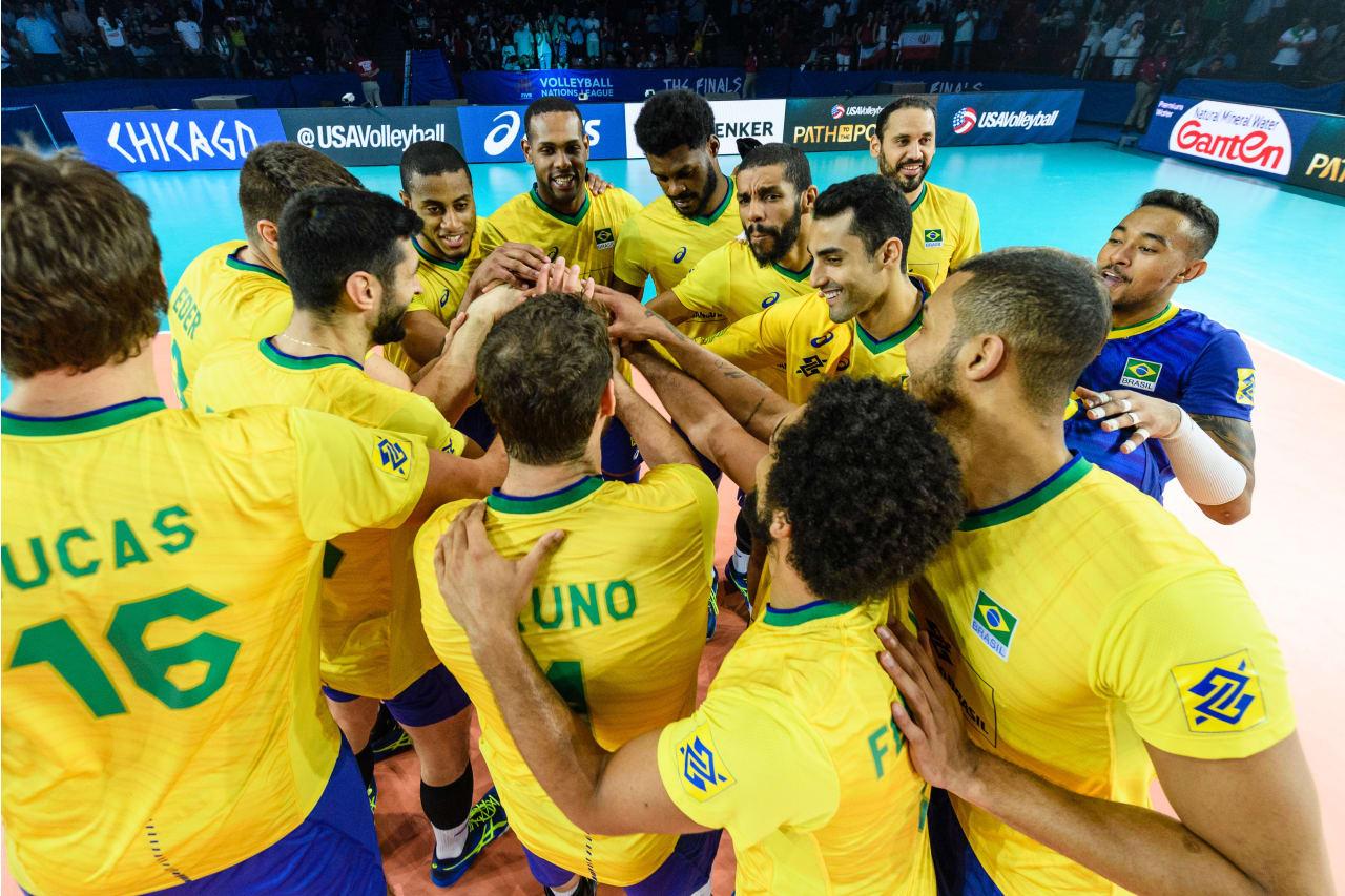 Brazil players celebrate a match victory