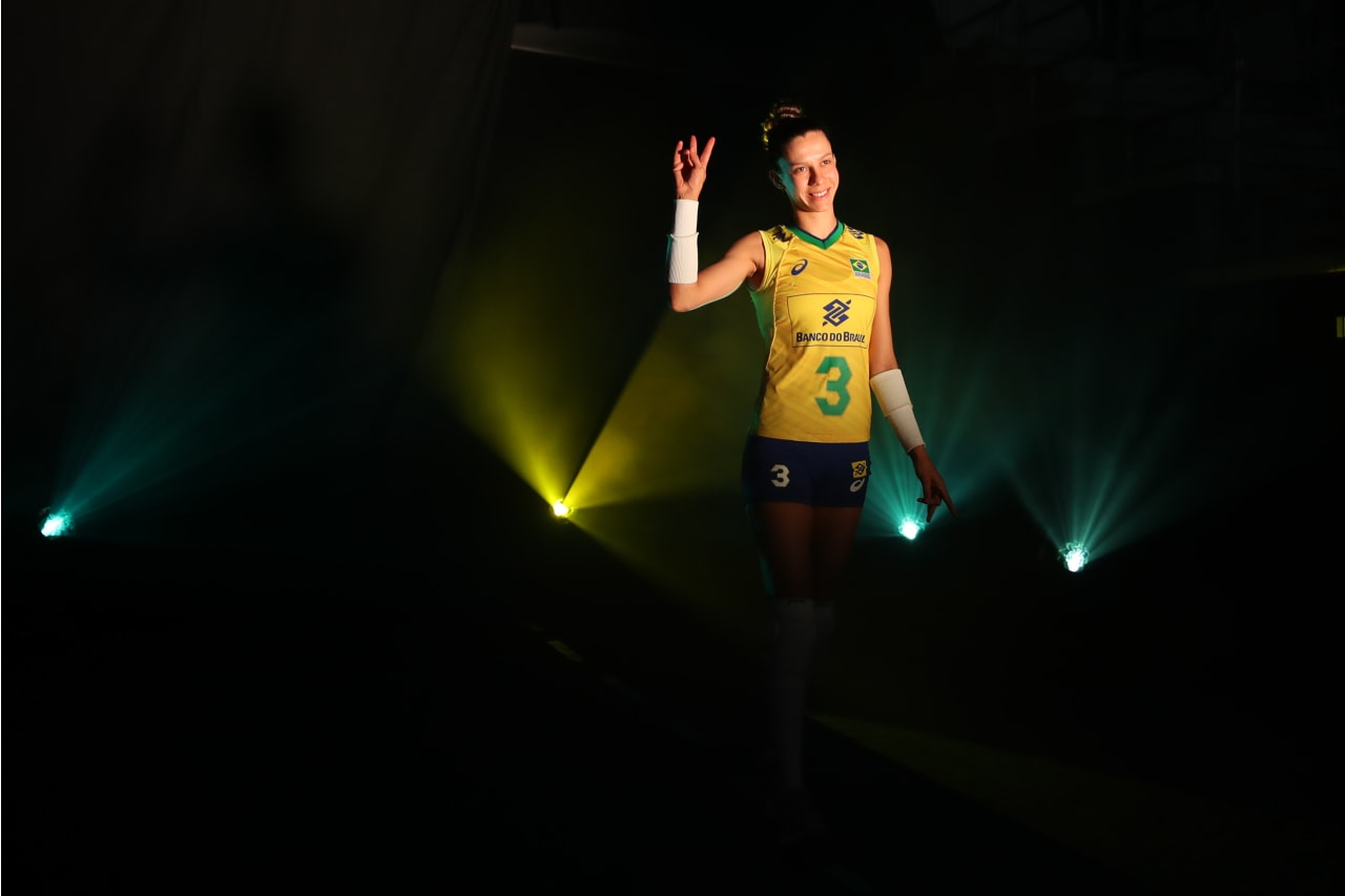 Brazil's Macris Carneiro enters the stadium