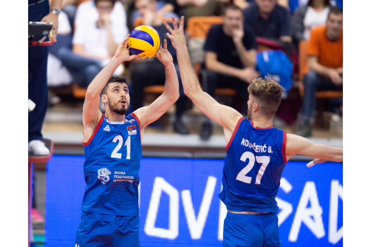 Serbia's Vuk Todorovic sets the ball