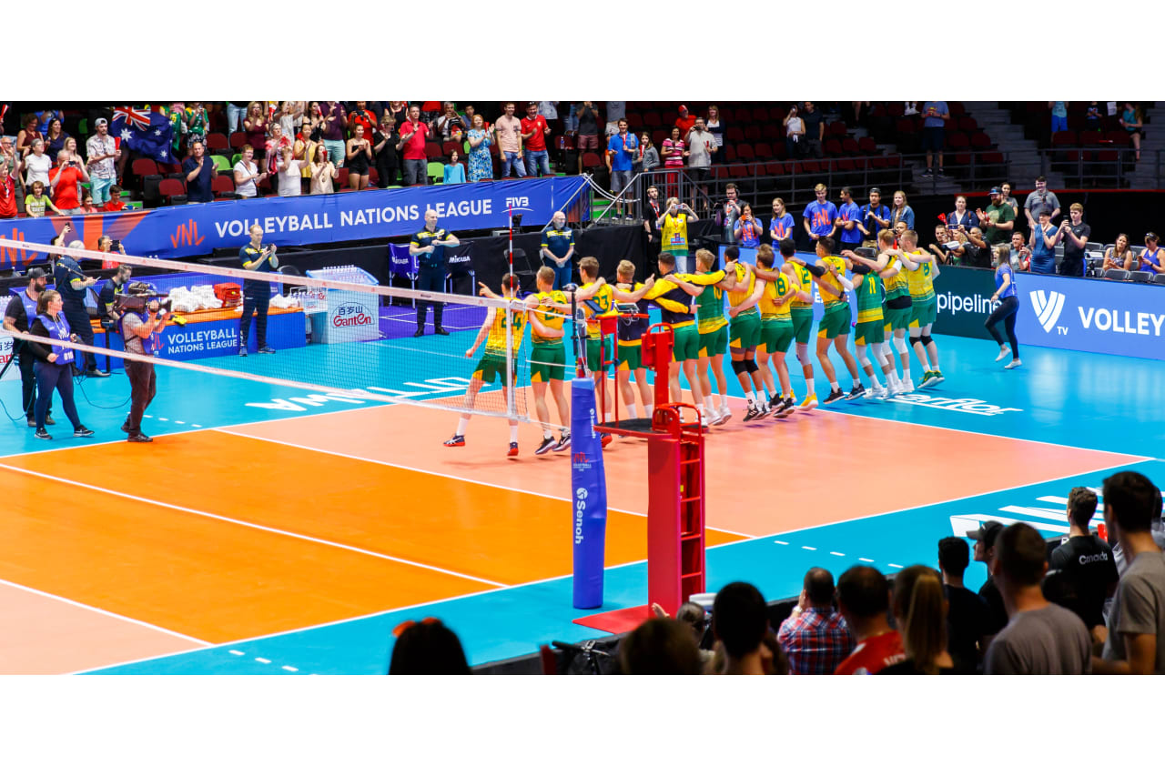 Australian players celebrate in front of the fans