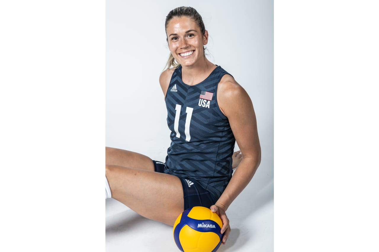 11-Andrea Drews - sitting down with a Mikasa ball