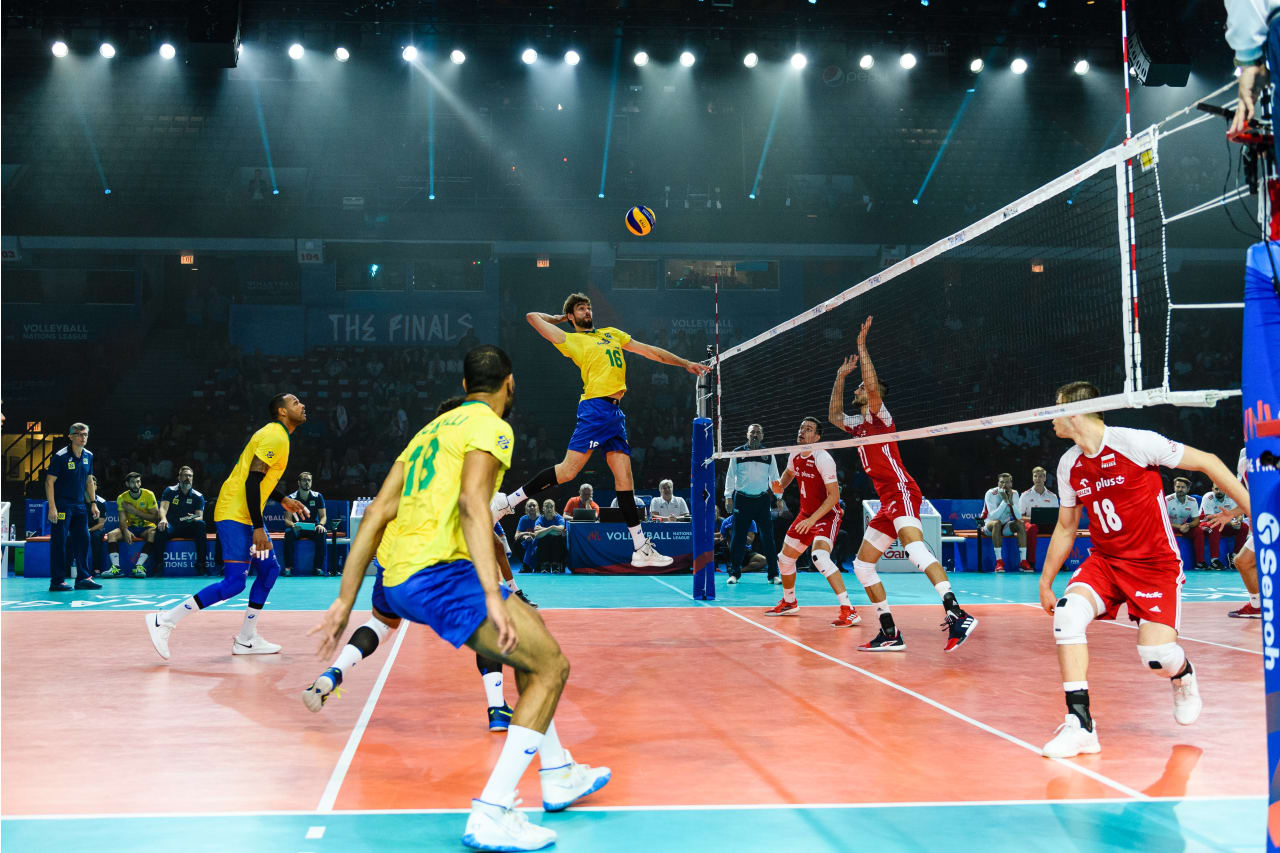 Brazil's Lucas Saatkamp jumps to spike