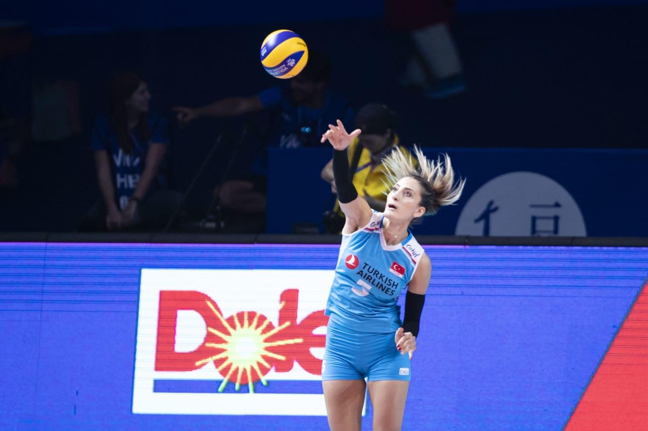 Turkey's Seyma Ercan jump serves